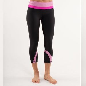 Lululemon Run Inspire Crop Microstripe Black Pink